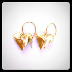 Heart Earrings with a rhinestone.